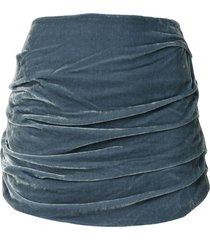 georgia alice velvet ruched mini skirt - blue