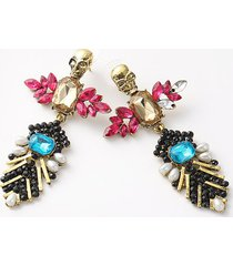 retro faux crystal skull drop earrings