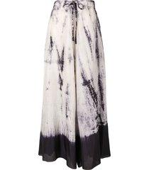 masnada drawstring tie-dye print silk skirt - grey
