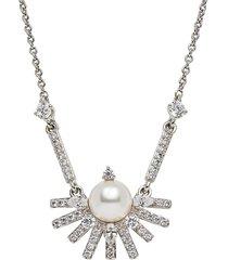 adriana orsini women's ambrosia rhodium-plated, 6mm ayoka pearl & cubic zirconia frontal necklace