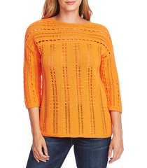 women's vince camuto boatneck pointelle sweater, size small - orange