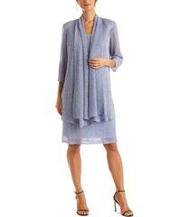 r & m richards petite crinkle-knit dress & jacket