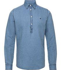 harold pop-over b.u. shirt overhemd casual blauw morris