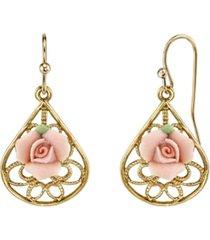 2028 gold-tone pink porcelain rose filigree pear shaped drop earrings