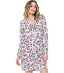 camisola bela notte curta floral rosa