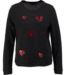 vero moda korte dunnere donkergrijze sweater met pailletten hartjes