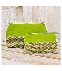cotton cosmetic bags, 'summer blooms' (pair) (guatemala)