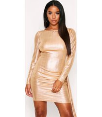 metallic foil dress slash neck, gold