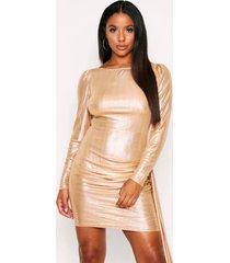 metallic foil dress slash neck, gold