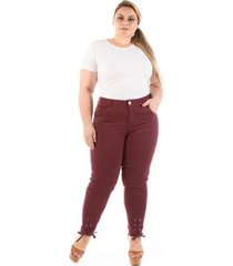 calça jeans lace up pantacourt plus size feminina