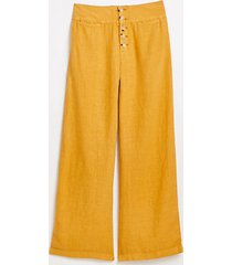 lou & grey high rise button front wide leg linen pants