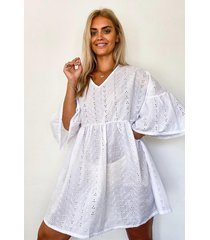 plus broderie anglaise smock dress, ivory