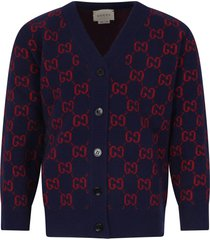 gucci blue cardigan with double gg for boy