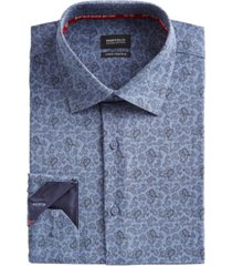 buffalo david bitton men's slim-fit performance stretch blue/black paisley-print chambray dress shirt