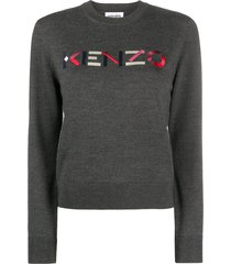 kenzo embroidered logo pullover - grey