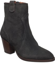 mm new york suede boot shoes boots ankle boots ankle boot - heel grå mos mosh