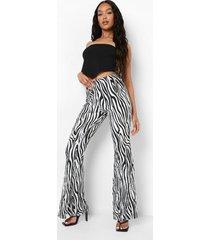 plisse zebraprint broek met textuur en wijde pijpen, zebra