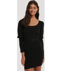 misslisibell x na-kd puff sleeve knitted dress - black
