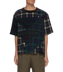 flannel plaid patchwork zipped shoulder t-shirt