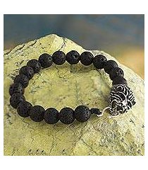 silver and lava stone beaded bracelet, 'intrepid lion' (peru)