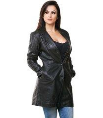 casaco parra couros feminino 7/8 preto
