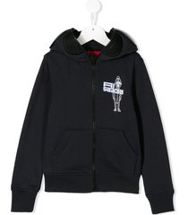 ai riders on the storm mr. ai print zip-up hoodie - blue