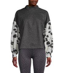 terez women's furreal printed funnel-neck sweatshirt - size s