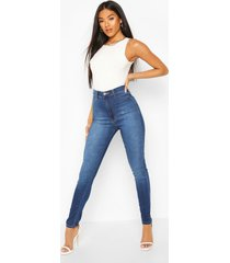 super high waist power stretch skinny jeans, mid blue