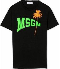 msgm black cotton t-shirt dress