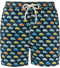 mc2 saint barth vintage car print swim shorts - blue