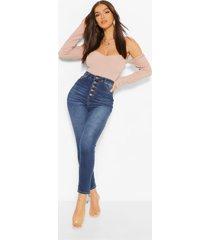 skinny jeans met hoge taille en knopen aan de voorkant, indigo