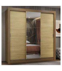 guarda-roupa casal madesa lyon plus 3 portas de correr com espelho 4 gavetas rustic/carvalho rustic