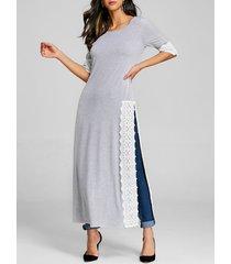 lace panel high split long t-shirt