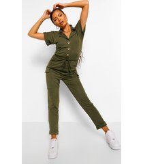 utility pocket button front jumpsuit, khaki