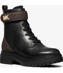 mk stivale combat stark in pelle con logo - blk/brown - michael kors