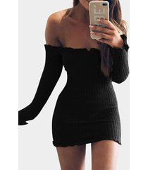 black off-the-shoulder frill hem sweater knit dress
