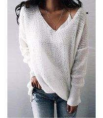suéteres de manga larga con cuello en v beige y jumper