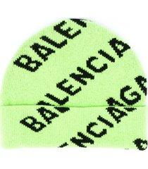 balenciaga logo-print beanie - green