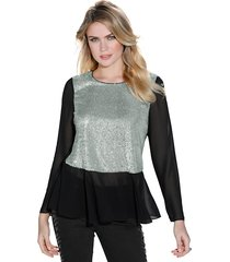 blus amy vermont svart::silverfärgad