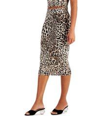 bar iii bodycon leopard-print skirt, created for macy's