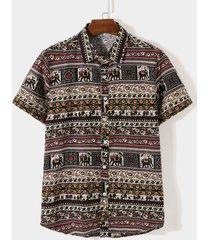 camisa bohemia estampada tribal de vacaciones de playa casual de algodón de verano para hombres