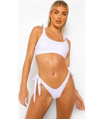 essentials bikini crop top met schouder strikjes, wit