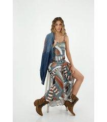 vestido de mujer, silueta amplia de diseño maxi, con estampado étnico