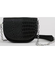 bolsa feminina croco transversal pequena alça com corrente preta