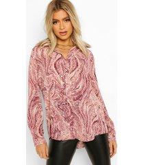 tall marmerprint blouse, pink