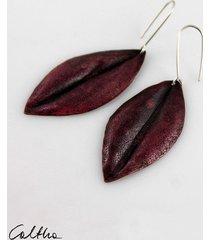 liście - miedziane kolczyki
