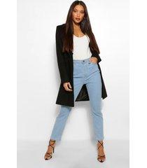 lange wol-look jas met dubbele knoopsluiting, zwart