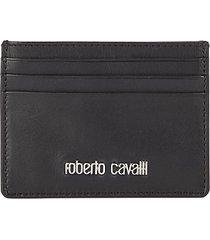 roberto cavalli men's leather card case - black