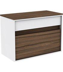 gabinete para banheiro em mdf sem cuba módena 80cm terracota