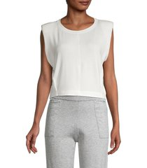 lucca women's padded-shoulder cropped tank top - white - size l